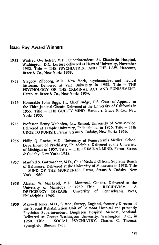 Isaac Ray Award Winners   Journal of the American Academy of