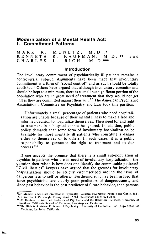 Modernization Of A Mental Health Act I Commitment Patterns